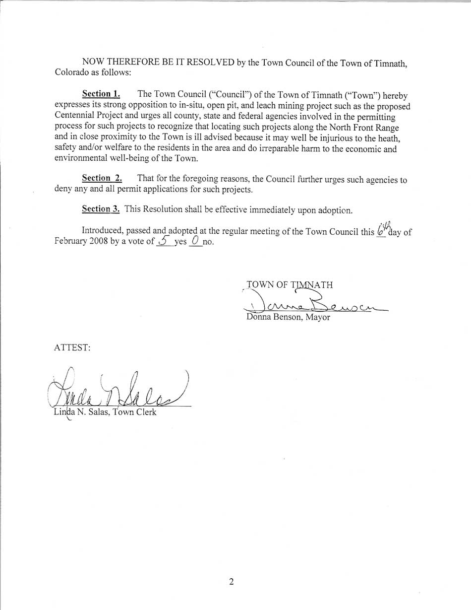Timnath Town Council Urges Epa Colorado And Weld Cty To Deny Any And All Permits